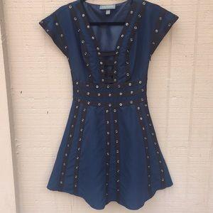 Sz XS Zac Posen Blue Black Studded Dress EUC